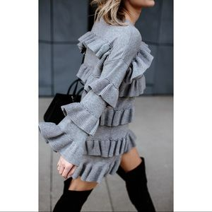 Dresses - Gray ruffle tiered sweater dress long sleeve